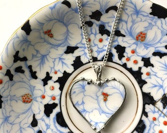 Broken china jewelry heart pendant necklace antique powder blue on white rose floral chintz porcelain
