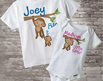 Big Brother Little Sister Shirt set of 2, Sibling Shirt, Personalized Tshirt with Cute Monkeys 01292014g