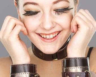 Made to Order- 1 Pair of Steampunk Leather Bondage Cuffs- One Size Fits Most- Welded D Rings- BDSM, Forest, Festival Bracelet, Burning Man