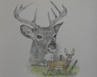 Animal art deer landscape wildlife buck brown antlers original wildlife graphite pencil watercolor wash m3 DrawingsPlus artwork