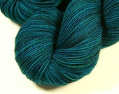 Hand Dyed Sock Yarn - Sock Weight Superwash Merino Wool Yarn - Deep Sea Tonal - Indie Knitting Yarn, Fingering Yarn, Blue Green Turquoise