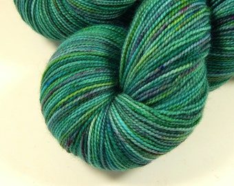 Hand Dyed Sock Yarn - Sock Weight Superwash Merino Wool Yarn - Potluck Speckled Aqua - Green Blue Fingering Knitting Yarn, DIY Gift