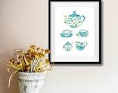 Tea for two Art Print, Tea cups print, tea pot print  Mother's Day, Kitchen art, floral art, shabby chic art print, retro print, turquoise