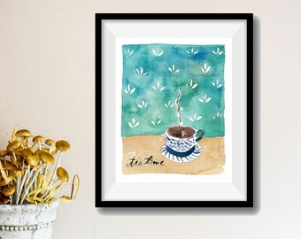 Tea Time Art Print/ tea cup watercolor print/ kitchen art/ tea cup art print/ Still life art/ shabby chic/ retro style/ mothers day
