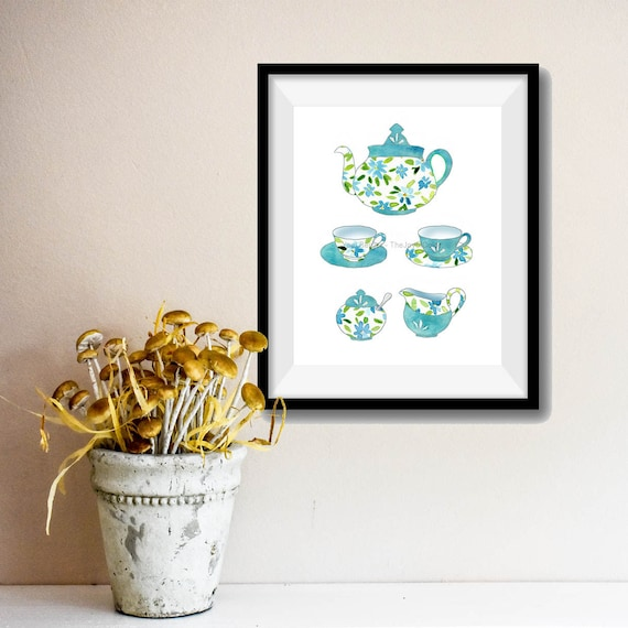 Tea for two Art Print, Tea cups print, tea pot print  Mother's Day, Kitchen art, floral art, shabby chic art print, retro print, turquoise
