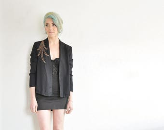 copper sparkle leaf blazer . smart black business lady jacket .small.medium .sale