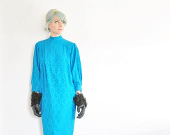 jewel tone BLUE silk dress . perfect 1980 golden girls frock .medium .sale