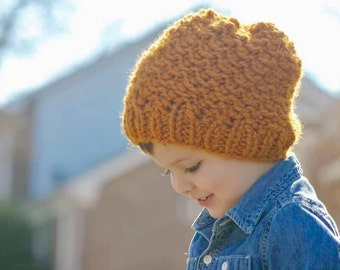 Slouchy Hat Kids Knit Toddler Hat Yellow Hat Boys Knit Hat Knit Slouch Toddler Hat Knit Kids Hat Kids Fall