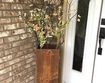 wooden vase reclaimed wood rustic vases floor vases rectangle vase farmhouse