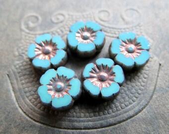 NEW TURQUOISE BLOSSOMS No.2 . Czech Metallic Glass Flower Beads . 9 mm (10 beads)