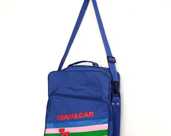 Vintage 1980s Blue and Rainbow Trafalgar Carryon Bag