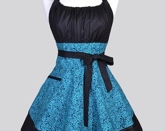 Womens Flirty Chic Apron , Sexy Turquoise Blue and Black Swirl Cute Vintage Style Pin Up Kitchen Cooking Apron with Pockets