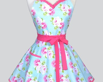 LUCY Sweetheart 50s Pinup Womens Apron / Tanya Whelan Pink Roses on Soft Aqua Blue Dots Vintage Style Pin Up Kitchen Apron with Pockets