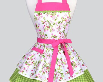 AVA Ruffled Retro Pinup Apron - Pink Apple Blossom Floral Womans Vintage Style Kitchen or Wedding Apron Ideal to Personalize or Monogram