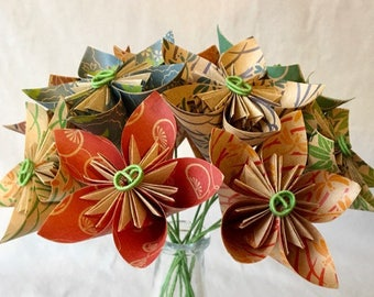 Natural Origami Flower Bouquet, Paper Flowers, Mother's Day, Cancer Patient Gift, 1st Anniversary, Office Decor, Sympathy Flowers