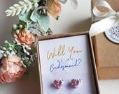 Pink earrings Small heart earrings gift for her bridesmaid proposal heart jewellery bridesmaid gift crystal earrings wedding earrings