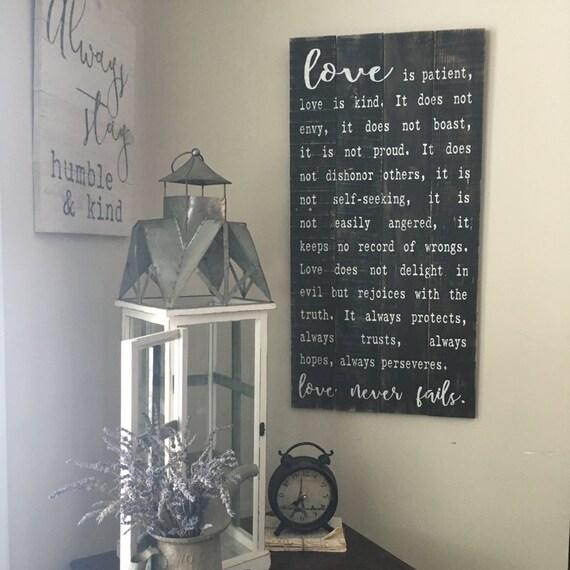love is patient sign 1 corinthians 13 large by. Black Bedroom Furniture Sets. Home Design Ideas