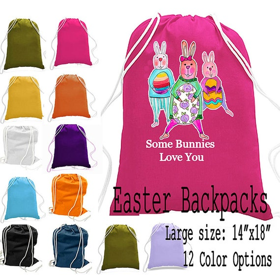 Easter Basket, Easter Backpack, Children's Easter Cinch Sack, Personalized drawstring bag, tote bag, book bag, gadget bag, easter bucket
