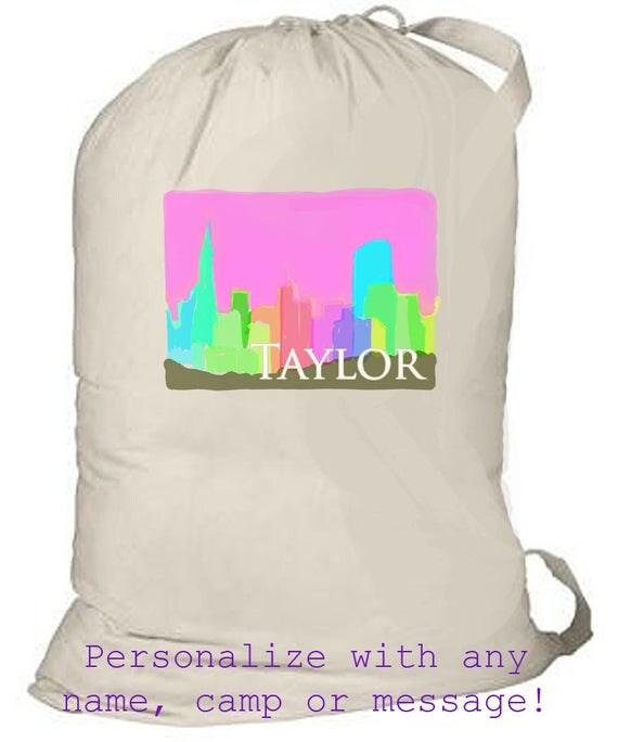 Laundry Bags, Large Personalized Laundry Bag, Huge Drawstring Bag, Laundry Tote, Huge Bold Pattern, Summer Camp Bag, Cottage Floral Design