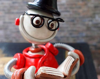 Professor Bot Baxton Robot Sculpture | Reading Robot | Clay, Wire, Paint