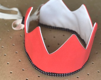 Fabric Crown / Hot Coral and Ecru