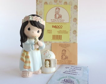 Vintage Precious Moments All Sing His Praises Figurine 184012, Girl With 2 Yellow Birds and Cage, Suspended Nativity Addition, 1996 Heart