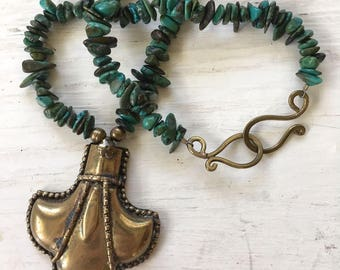 Turquoise and Metal Pendant Handmade Necklace - Delicate Turquoise Chips Large Gold Statement Centerpiece Ethnic Shape