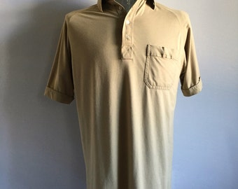 Vintage Men's 80's Polo Shirt, Tan, Short Sleeve by Arrow (L)