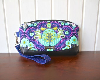 Clematis Wristlet in Tula Pink Slow and Steady purple tortoise print with black faux leather