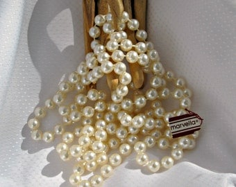 Marvella Necklace Vintage 70s Signed Jewelry 72 in Faux Pearls