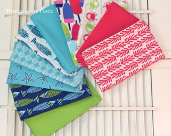 10 Fat Quarter Bundle  ... TIDE POOL by Kate Nelligan .... Moda fabrics... seaside, starfish, buoy