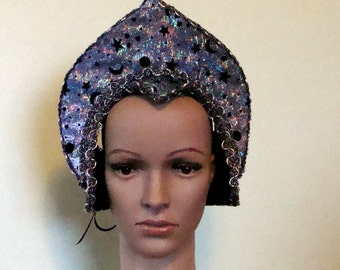 Costume Headpiece Ready to Decorate Mardi Gras Halloween Cosplay Handmade Blue and Silver