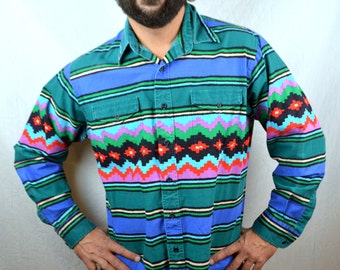 Vintage Southwest Geometric Button Up Shirt Top by Wrangler
