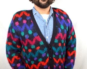 Vintage 80s Knit Mohair Geometric Rainbow Wool Cardigan Sweater - Le Moda Knitwear