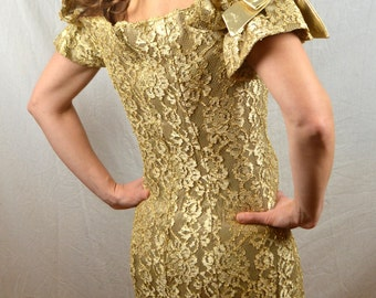 Super Cute 1980s Gold Lace WOW Strapless Mini Dress - By Expo