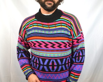 Vintage Rainbow Geometric Striped WOW Pullover Sweater - Croquet Club