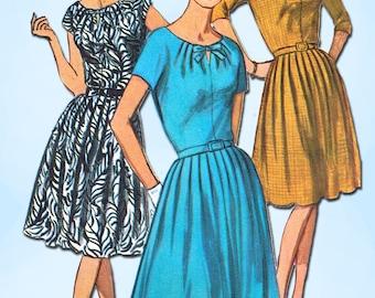 1960s Vintage Simplicity Sewing Pattern 5940 Uncut Misses Keyhole Dress Size 37B