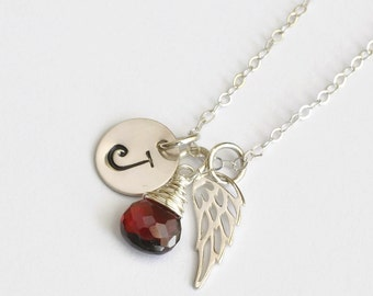 Condolence Gift Jewelry / Sterling Silver Angel Wing  / January Birthstone Necklace / Loss of A Loved One / Memorial Jewelry Sympathy