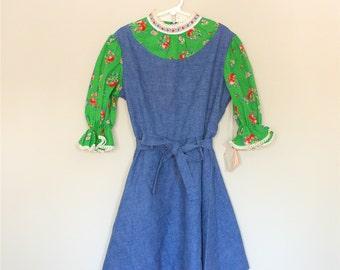 Cherries and Denim Dress- Girls' Size 8- NOS