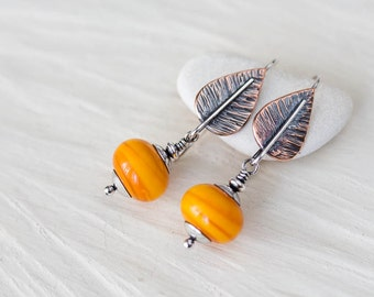 Unique Yellow Leaf Earrings, textured copper and sterling silver dangle, lampwork earring, mixed metal botanical artisan jewelry