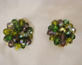 Clip on Earrings Vintage 50s Costume Jewelery Green & Purple Earrings