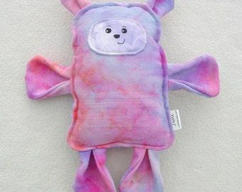 Bear Pillow Plush - Wrap Scrap Bear - Handmade Classic Toy - Pink Stuffed Bear - Keepsake Bear - OOAK Bear - Minimalist Toy Bear