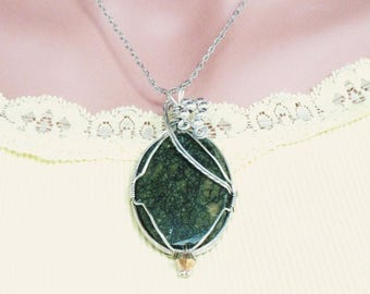 Russian Serpentine Pendant, Wire Wrapped New Jade, Gemstone Pendant, Chakra Healing Pendant, Gifts For Her, Sterling Pendant Necklace