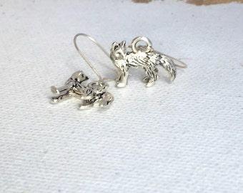 Silver Fox Hook Earrings Tiny Fox Silver Tone Drop Earrings Small Figural Fox Earrings Silver Fox Jewelry Sly Fox Foxy Earrings Hooks Vixen