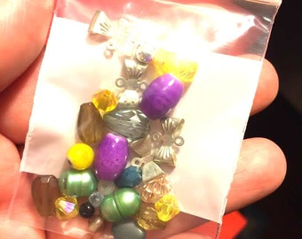 Supplies - Grab Bag of Misc Beads and Silver Bow Connectors - Pearls Plastic & More