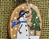 Personalized made to order Rustic Canadian Snowman Christmas Ornaments