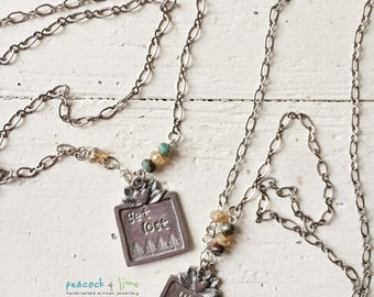 Get Lost or Wild Air pewter handstamped quote nature pendant necklace // hike hiking outdoors necklace//adventure jewelry//original handmade