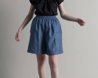 Vintage 90s Blue Chambray Culottes / High Waist Cotton Shorts