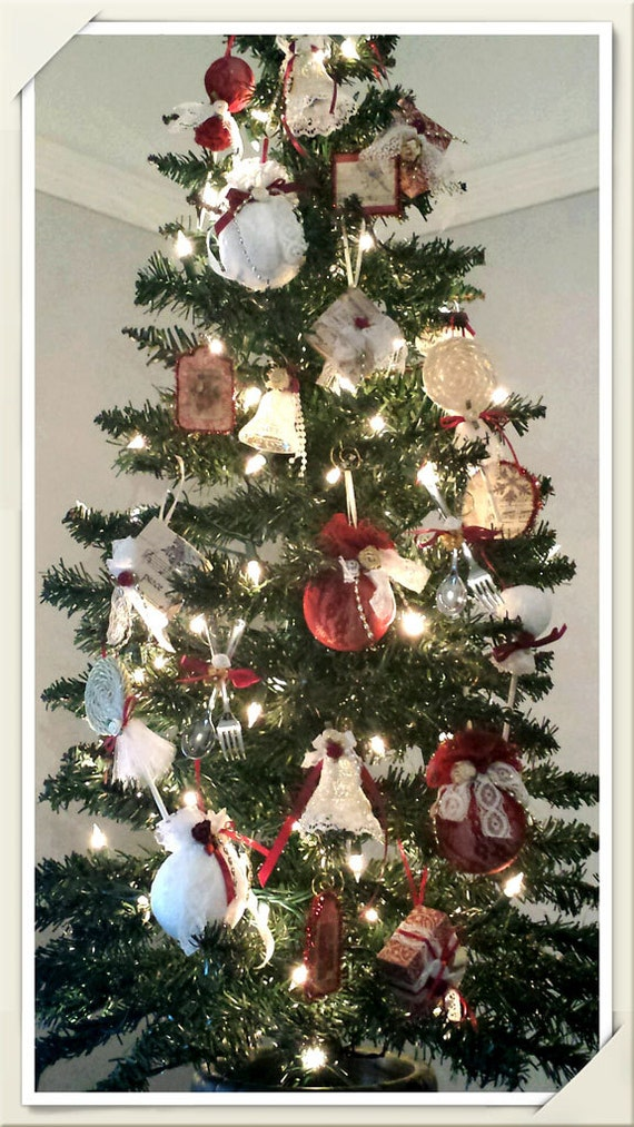 Assortment of 22 Red & White Handmade Victorian Christmas Ornaments - Lace, Paper Scrap, Wooden Tags, Bells