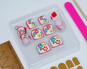 Toe Nail Flower Art Manicure Kit Press On Nails Fake Arcylic Pedicure Summer Feet File Cuticle Tool Adhesive Red White